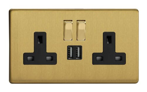 Varilight XDB5U2SBS Screwless Brushed Brass 2 Gang Double 13A Switched Plug Socket 2.1A USB
